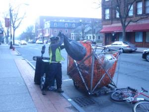 Colby hauling downtown trash March 2012