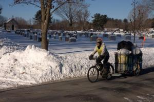 Ruthy and a snowy cemetery.